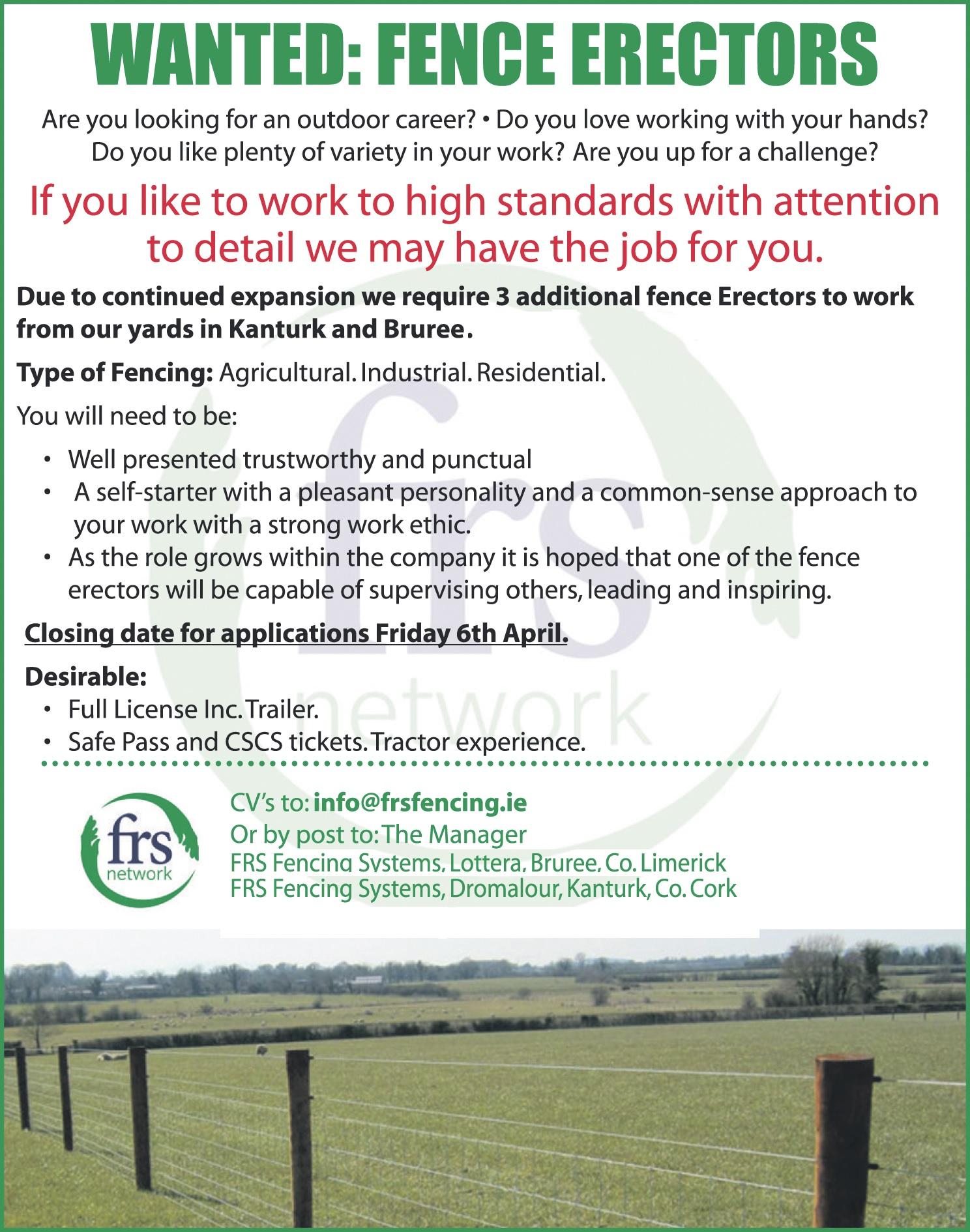 wanted: fence erectors